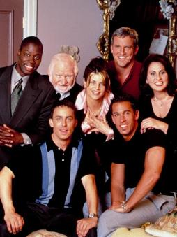 VERONICA'S CLOSET, (top, l to r) Daryl Mitchell, Robert Prosky, Kirstie Alley, Alan F. Smith, Kathy Najimy, (sitting) Wallace Langham, Dan Cortese, 1997-2000